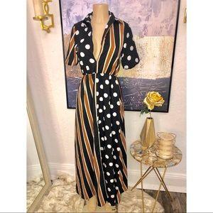 Boutique long stripe polka dot dress deep v